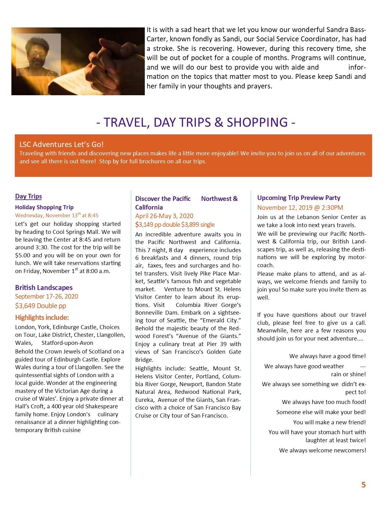 Newsletter pg 5 trips