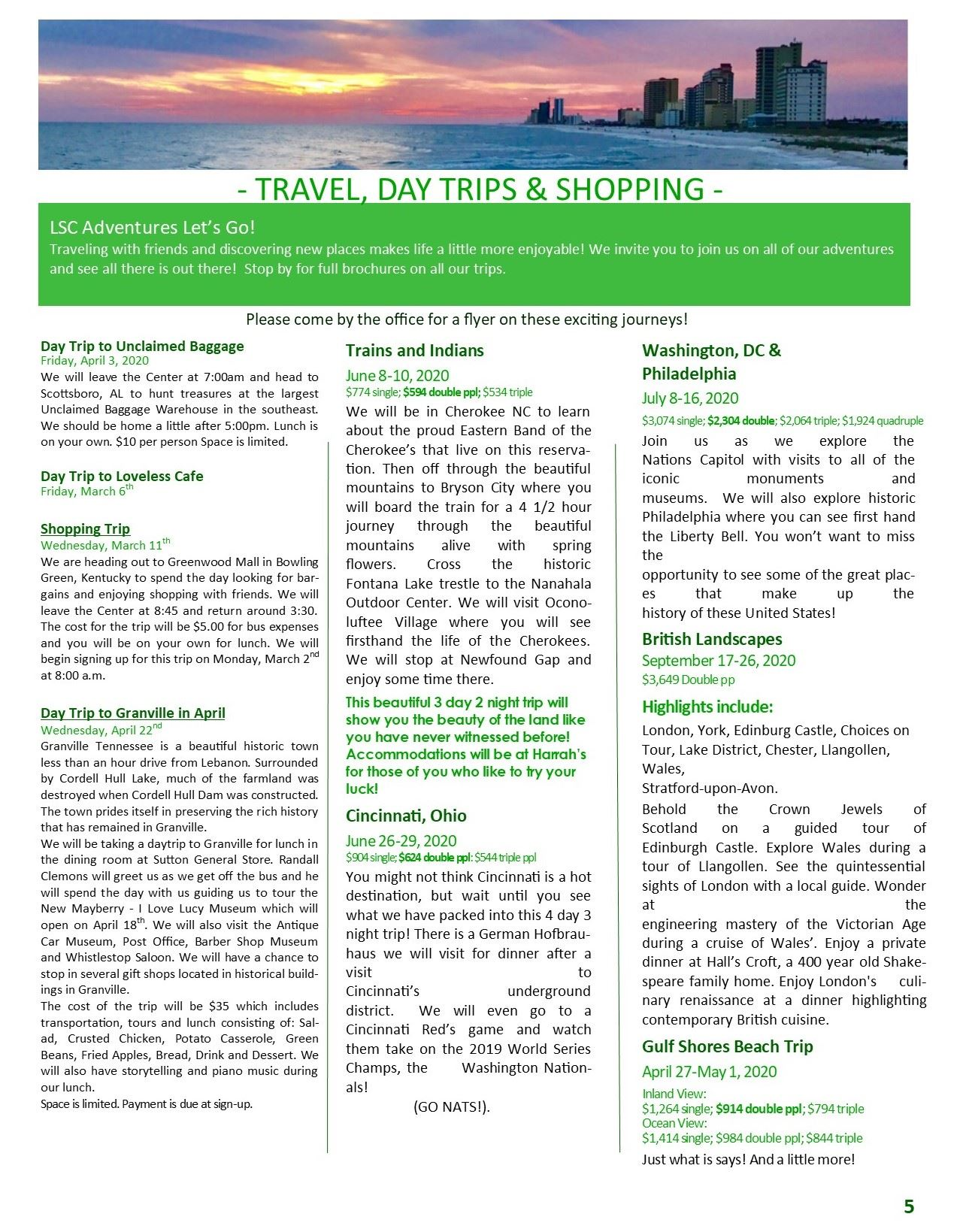 March Newsletter Pg 5 trips