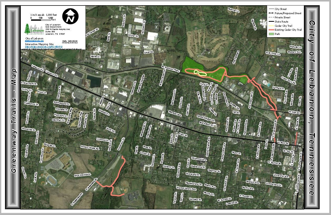 City of Lebanon GreenwayTrails Map